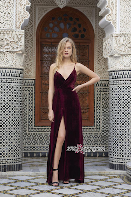 2017 Side-Slit Velvet Maroon Sexy Spaghettis-Straps A-line Evening Dress