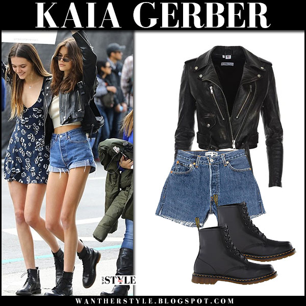 Kaia Gerber in black leather jacket and denim shorts re/done street fashion march 24