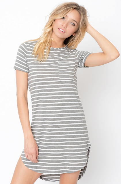 Buy Heather grey Striped Curved Hem tee dress online @caralase