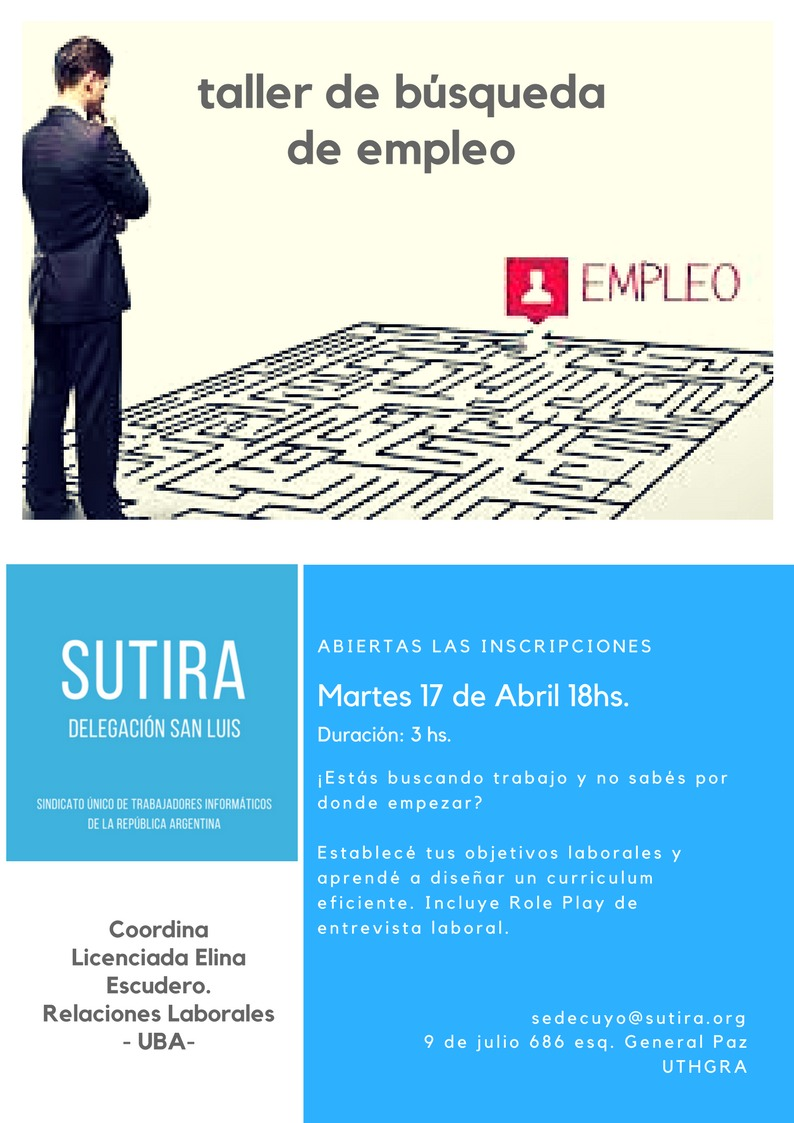 Taller de búsqueda de empleo en @SutiraInfo San Luis - 17 de Abril ...