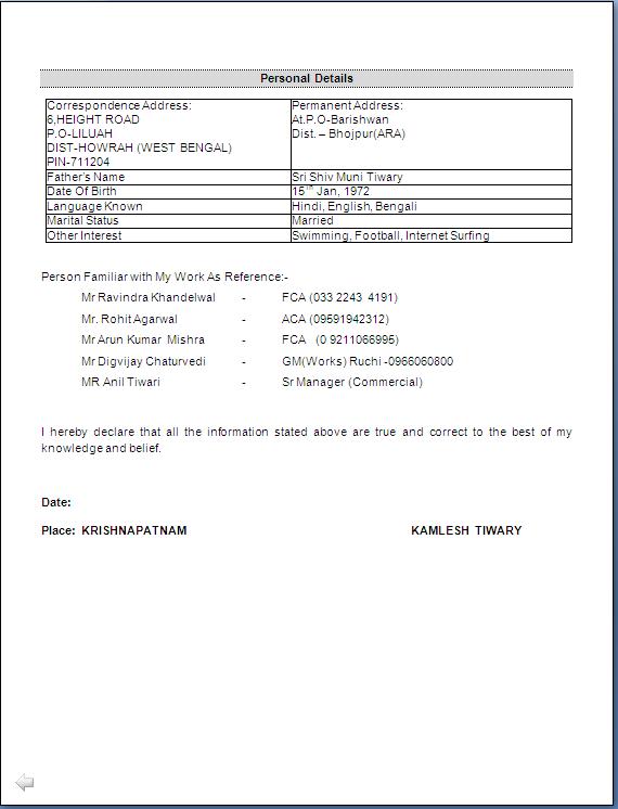 Resume Sample Ca Inter Amp Master Of Commerce Having 15