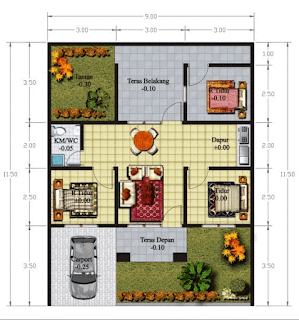 Koleksi Denah Rumah Minimalis 3 Kamar Tidur Model