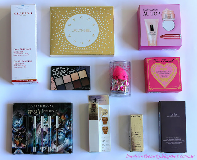 a photo of beauty products hauled from sephora and mecca maxima