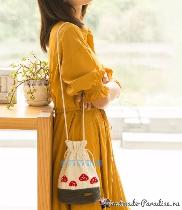 Вот такую замечательную сумочку-мешок с аппликацией можно создать своими руками