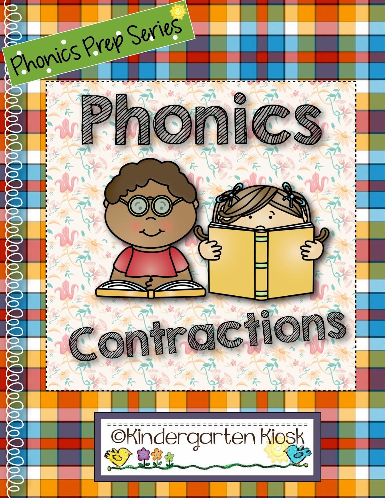 Kindergarten Kiosk Contraction Worksheets