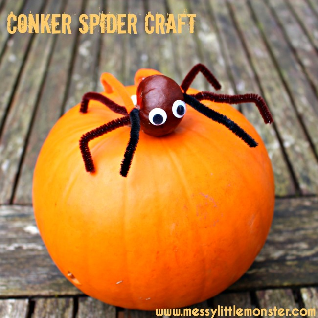 Easy horse chestnut spider craft for kids. A great autumn activity idea for toddlers and preschoolers working on fine motor skills.
