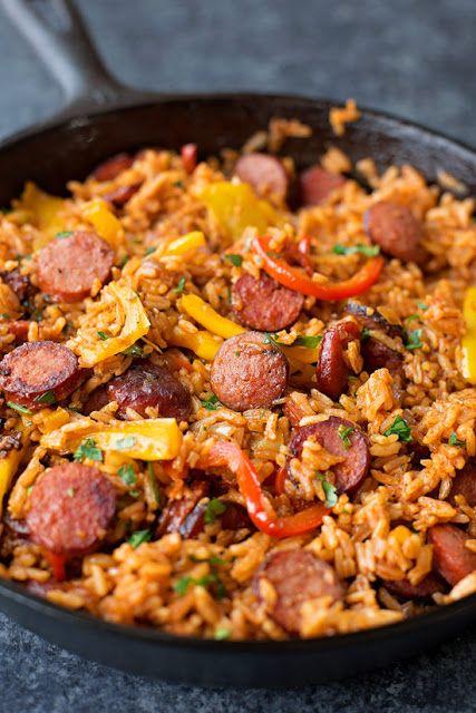 SAUSAGE, PEPPER AND RICE SKILLET #Sausage #Pepper #Rice #Skillet #Dinnerrecipe #Bestdinner #Americandinner
