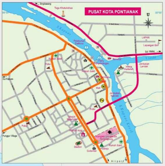 letak pontianak dalam peta kalimantan barat, pontianak located on a map
