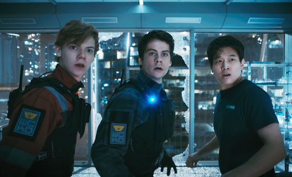 (L-R) Thomas Brodie-Sangster, Dylan O'Brien and Ki Hong Lee in MAZE RUNNER: THE DEATH CURE (2018)