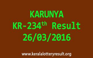 KARUNYA KR 234 Lottery Result 26-3-2016