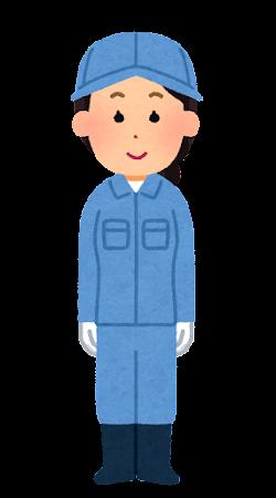 手袋・帽子を付けた作業員のイラスト(女性)