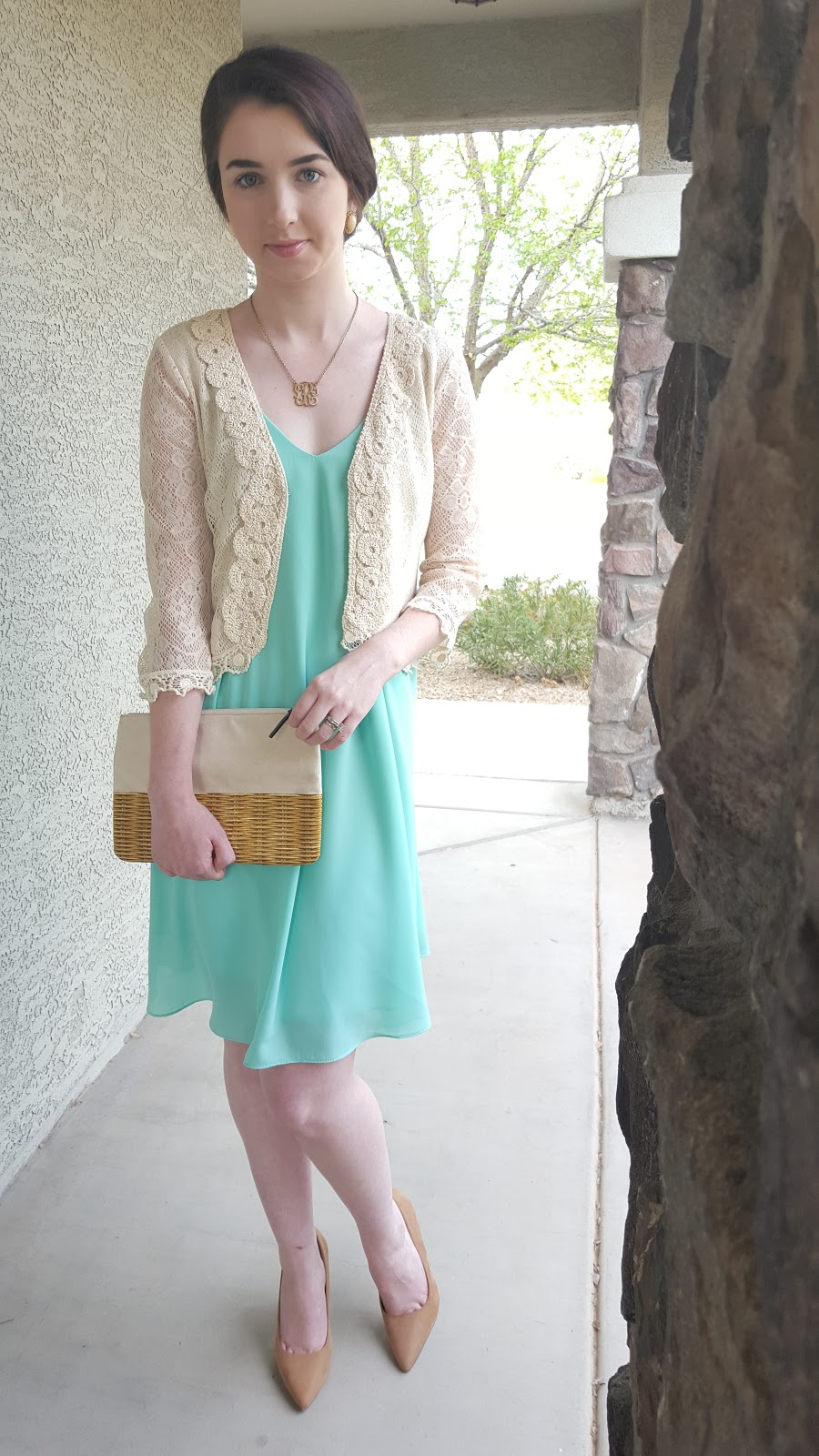 basic shift dress with a lace cardigan and classic pumps for Spring
