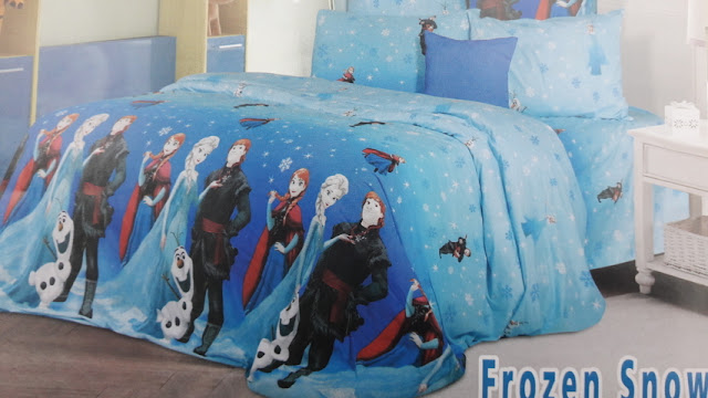sprei motif anak Frozen Snow bahan saga