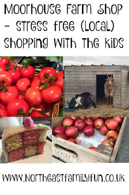 Shopping with kids at Moorhouse Farm Shop near Stannington, Morpeth