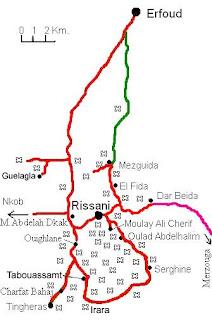 Mapa de la zona de Rissani.