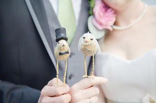 Modern Bird Wedding Cake Topper