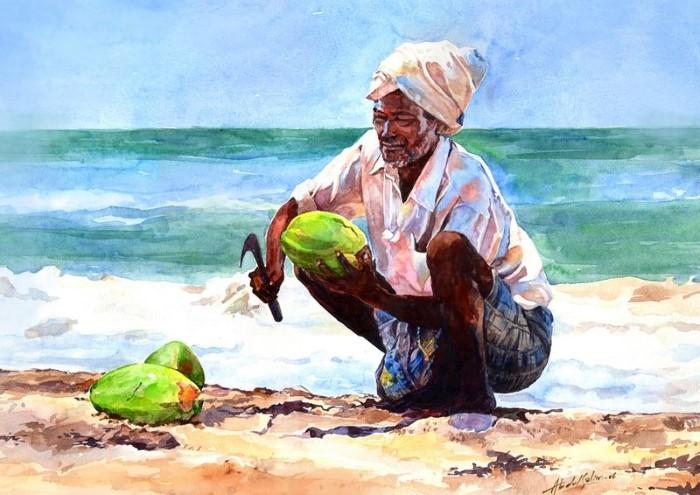 Индийский акварельный художник