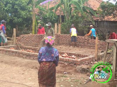 FOTO 6 : Pemasangan dinding setengah badan  warung benih MANGYONO.com dan lumbung padi