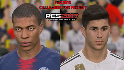 PES 2017 New Callnames from PES 2019