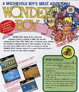 Imagen del flyer de la máquina recreativa de SEGA, Wonder Boy, 1986