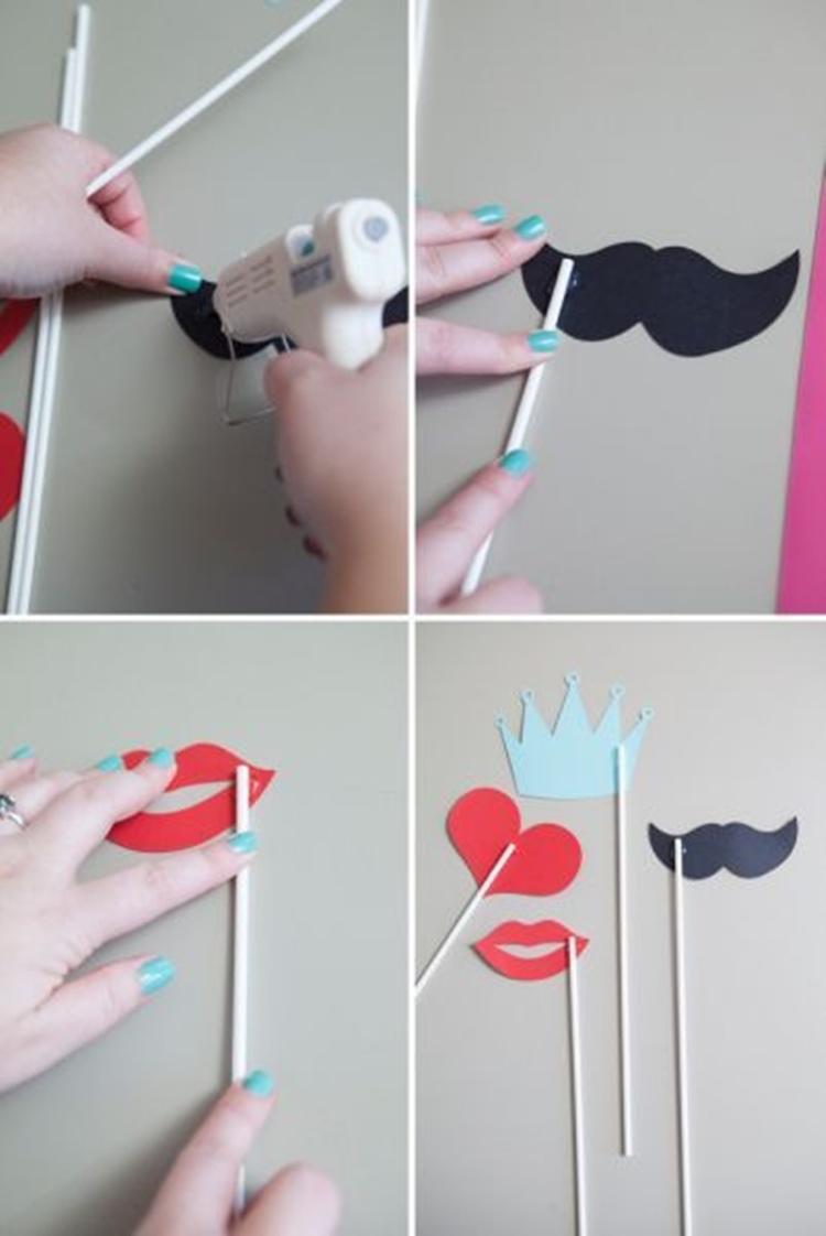 DIY óculos, bocas e bigodes