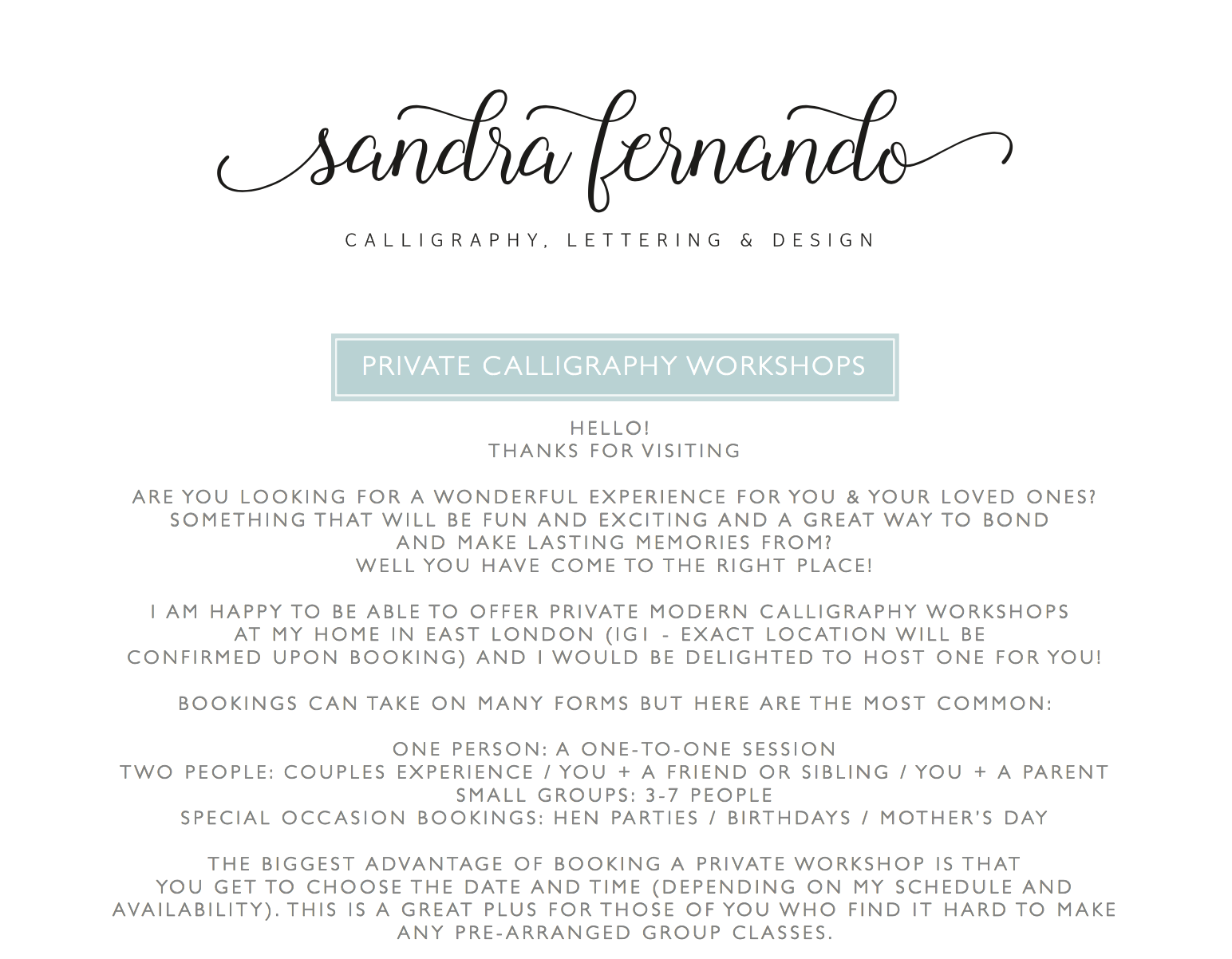 calligraphy workshop discount