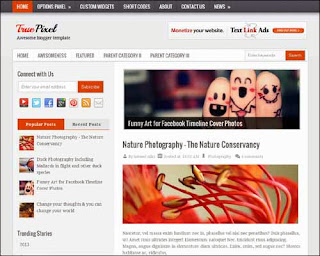 True Pixel Free Blogger Template