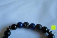 Einkerbung: Gemdor Unisex Energiearmband Onyx Lavastein Armbandlänge ca. 16 - 21 cm in verschiedenen Ausführungen - Chakraarmband für Damen Edelsteinarmband Armband Damen Yoga