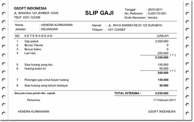 contoh surat slip gaji dari rt contoh 36