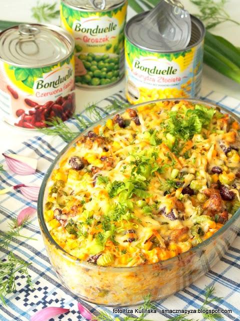 warzywa bonduelle, warzywa w puszce, warzywa konserwowe, kurczak, zapiekanki, ryz, z piekarnika