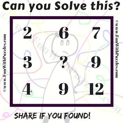 Can you solve this? 2 6 7, 3 ? 9, 4 9 12
