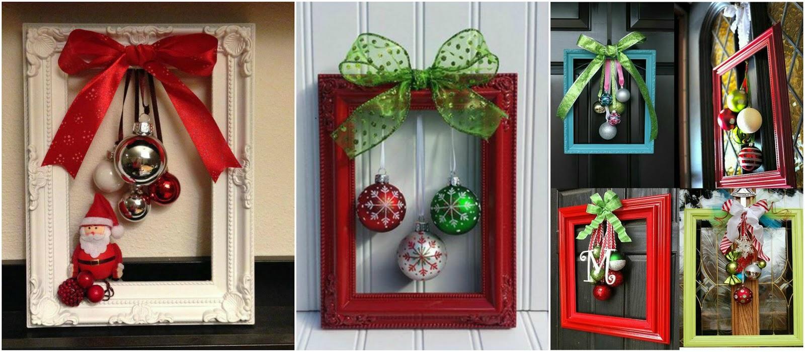 8 adornos navide os con marcos para decorar en esta - Decorar marcos de madera ...