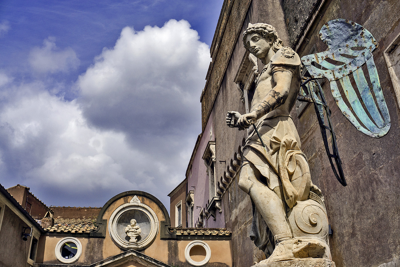 Statue of Archangel Michael by Michelangelo in Castel Sant'Angelo in Rome, Italy