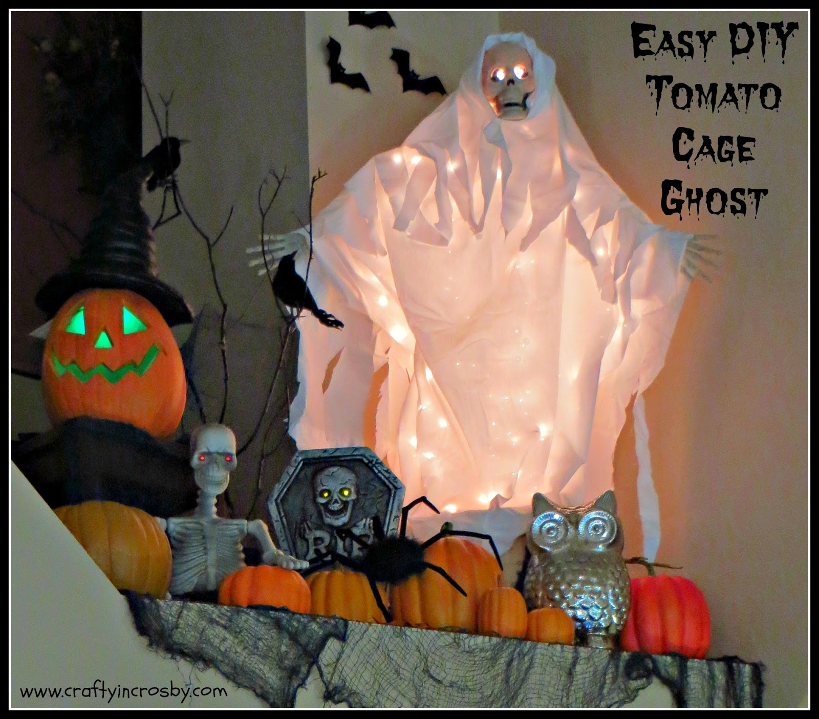 Crafty In Crosby: Easy DIY Tomato Cage Ghost