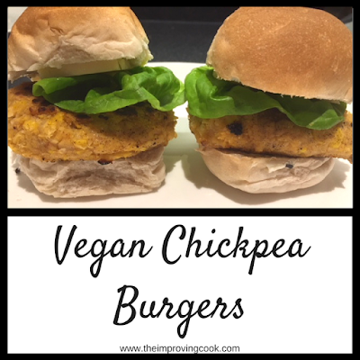Pinnable image of two vegan chickpea burgers in buns