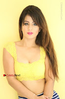 Cute Telugu Actress Shunaya Solanki High Definition Spicy Pos in Yellow Top and Skirt  0164.JPG
