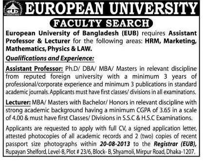 Career at European University