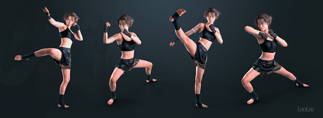 Meilin 8 Muay Thai Poses