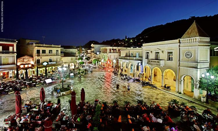 A vivid square with many shops and restaurants, Zakynthos, Greece