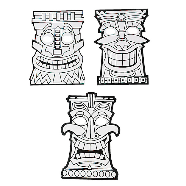 Related Pictures Tiki Mask Coloring Page Of Tiki Mask