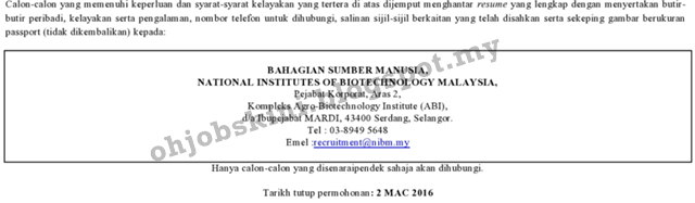 Jawatan Kosong National Institutes of Biotechnology Malaysia (NIBM)