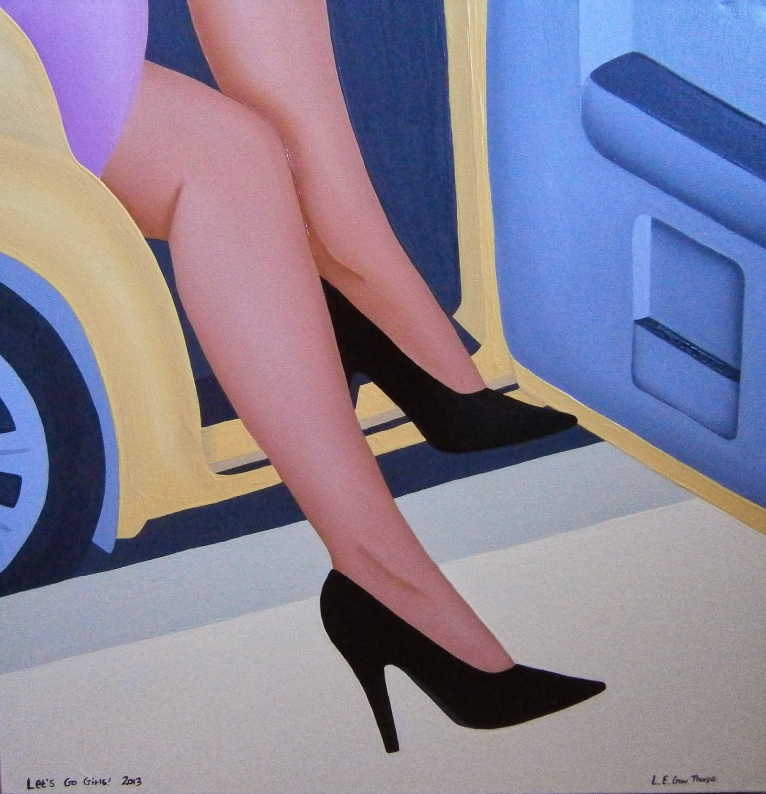 A woman wearing black courts stepping out of a New York yellow taxi cab
