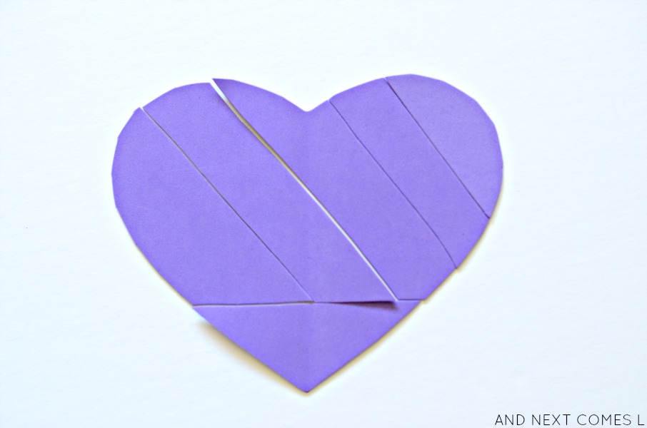Heart tangrams Valentine's Day activity for kids