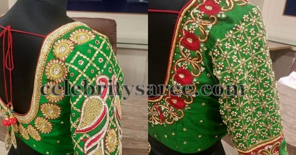 Elbow Length Blouse In Green Saree Blouse Patterns