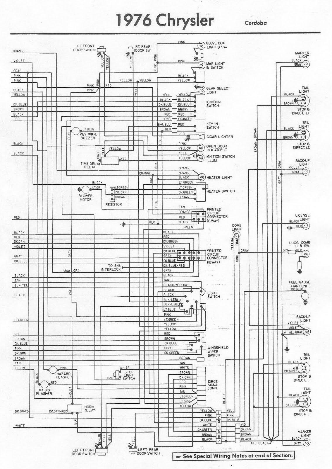 1976 Chrysler Cordoba Stromkreis Diagramm Bordz