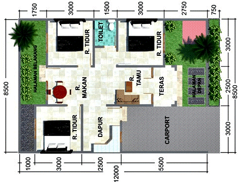 20 denah rumah minimalis 3 kamar tidur