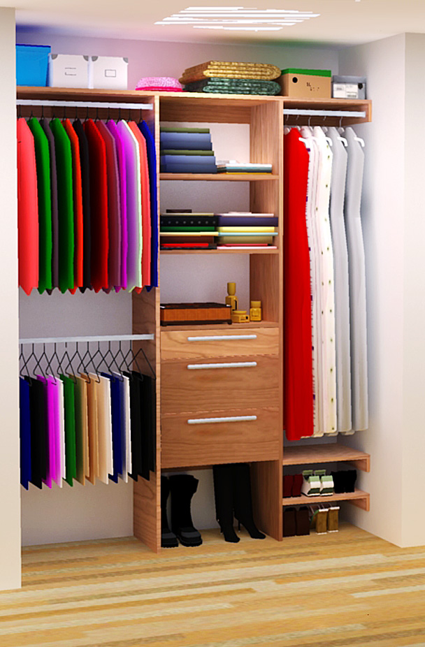 Diy closet organizer plans for 5 39 to 8 39 closet Pictures of closet organizers