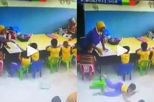 Tak Salah Apa-apa, Murid di Daycare ini Dipukul Gurunya Hingga Terjengkal