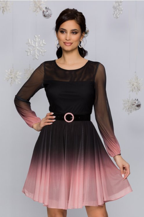 Rochie eleganta ieftina din voal de ocazii negru cu roz in degrade