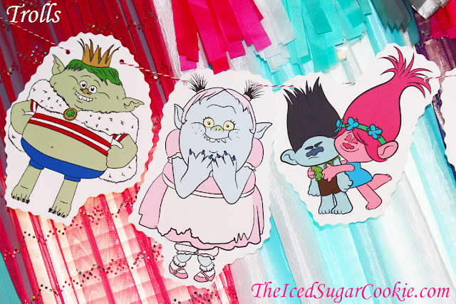 Trolls Birthday Party Flag Hanging Bunting Banner Garland Prince Gristle, Bridge, Branch and Poppy, Smidge, Biggie and Mr. Dinkles, Satin and Chenille, Cooper, Chef